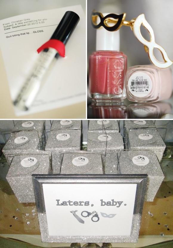 """Caixinhas com lembrancinhas """"Laters Baby"""" com gloss e esmalte"""